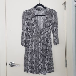 Snake print long blouse dress